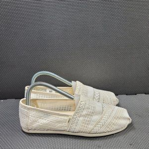 Womens Sz 7 Cream TOMS Natural Arrouw Embroidered